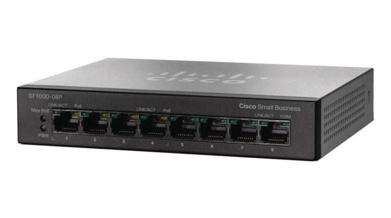 سوئیچ شبکه سیسکو 8 پورت SF100D-08P-EU